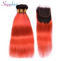 Sapphire Hair Ombre Bundles With Closure Pre Colored Brazilian Straight Hair T1B/Orange Color Hair Weave Bundles 3pcs/lot