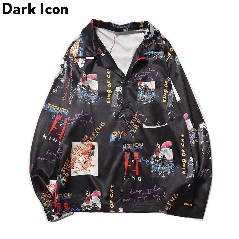 Dark Icon Letter Full Printed Hip Hop Shirts Front Pockets Men Turn-down Collar Loose Shirts Autumn Street Fashion Men's Shirt