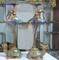 Crafts Arts Decorated Regius 100% 24K GOLD BRONZE Cloisonne Crowned Crane Dragon Turtle Candlestick wedding copper