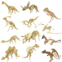 DIY דינוזאור פאזל 3D תלת ממדי עץ ילדים חינוכיים צעצועי תלמידים בעבודת יד חומרים
