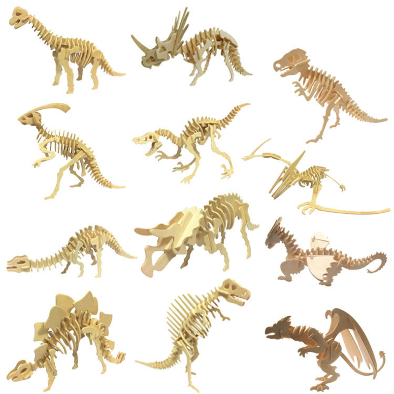 DIY dinosaur puzzle 3D three dimensional wooden children's educational toys pupils handmade materials-in Puzzles from Toys & Hobbies