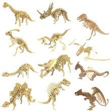 DIY بها بنفسك ديناصور لغز ثلاثية الأبعاد ثلاثية الأبعاد خشبية للأطفال ألعاب تعليمية التلاميذ المواد اليدوية