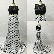 Robe De Soiree 2016 Real Sample Schwarz Und Weiß Zwei Stück Spitze Top Prom Kleider Abendkleid