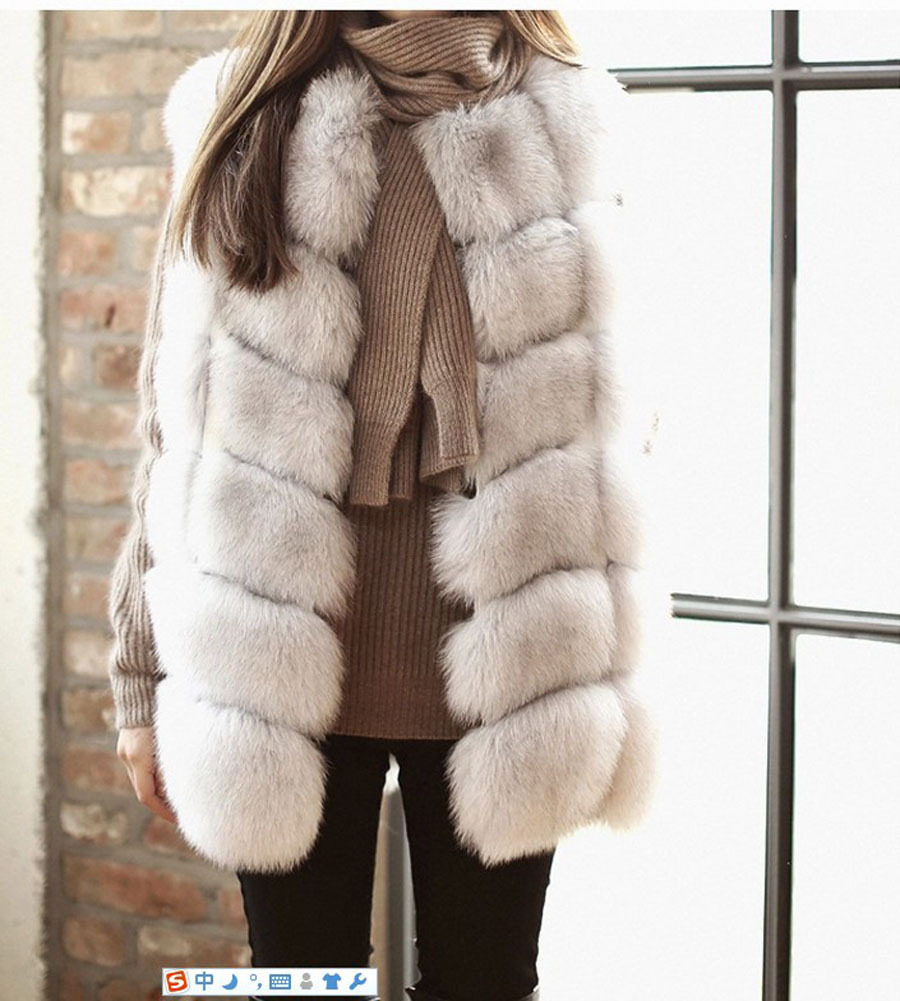 fd7131ee59c6e7 FIRSTTO Faux Renard Fourrure Gilet Long Sans Manches Veste Manteau Fourrure  Long Poilu Shaggy Outwear femmes Gilet Manteau De Qualité Supérieure dans  Faux ...