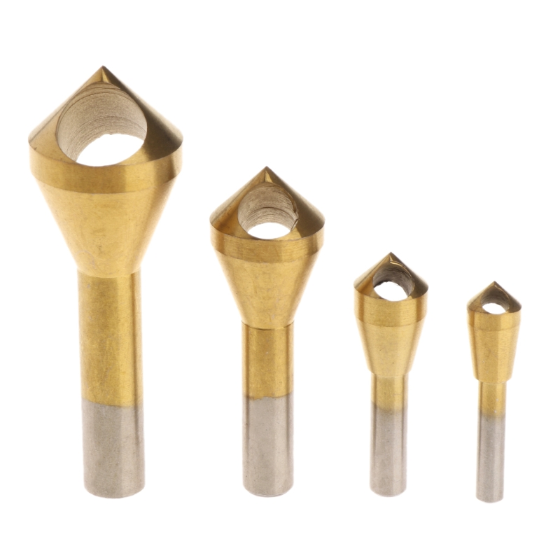 New 4x Chamfer Countersink Deburring Drill Bit Set Crosshole Cutting Metal Tool Gold 2018
