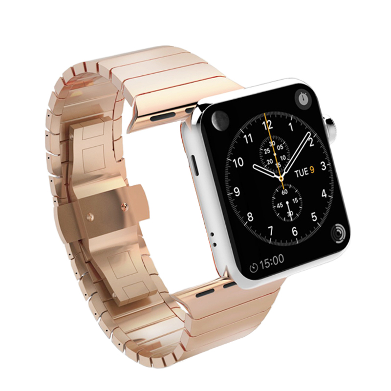 link bracelet strap for apple watch band 4 3 44mm 42mm 38mm 40mm stainless steel Butterfly buckle watchband for iwatch belt 2 1 in Watchbands from Watches