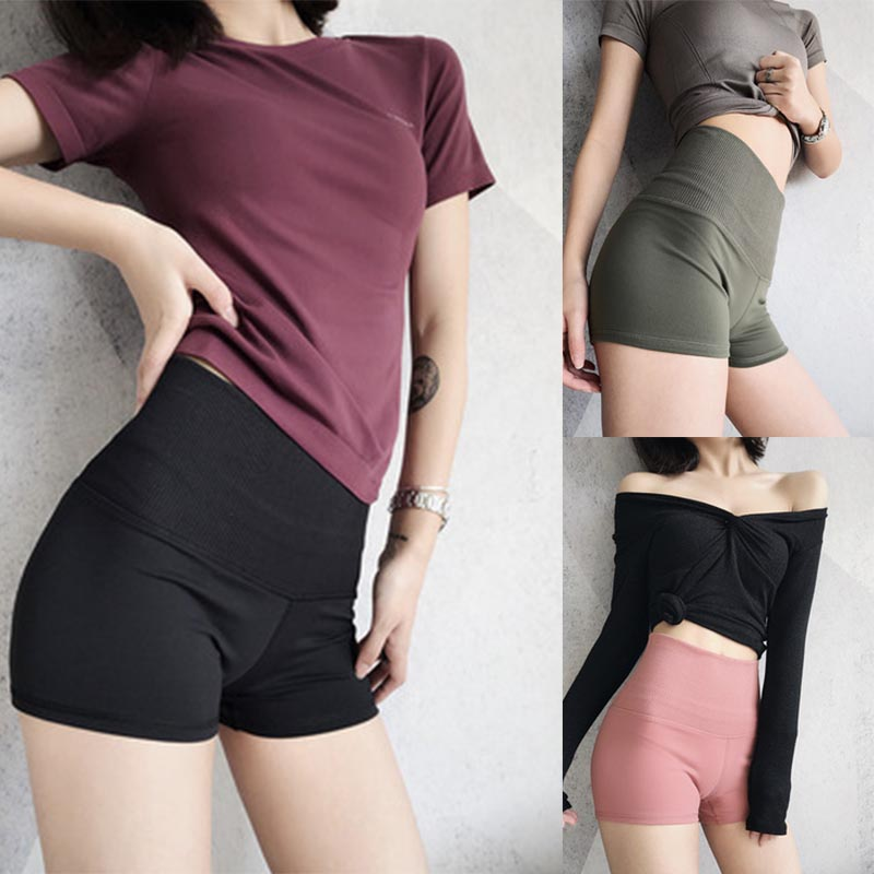 Newly Curve High Waist Shorts Women Sports Shorts Fitness Yoga Wicking Jogging Gym Running MSD-ING