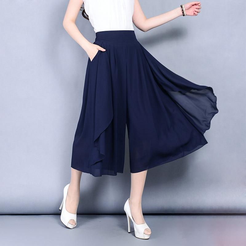 female Chiffon skirt   pants   women's summer Wide Leg Calf-Length trousers thin high waist loose office lady plus size   Capris     pants