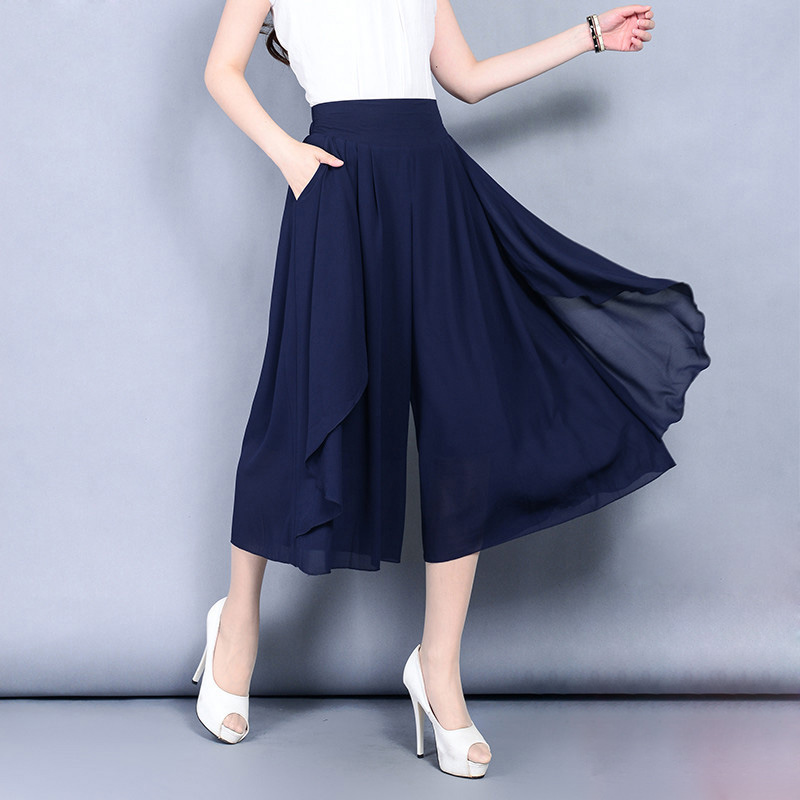 female Chiffon skirt   pants   women's summer   Wide     Leg   Calf-Length trousers thin high waist loose office lady plus size Capris   pants