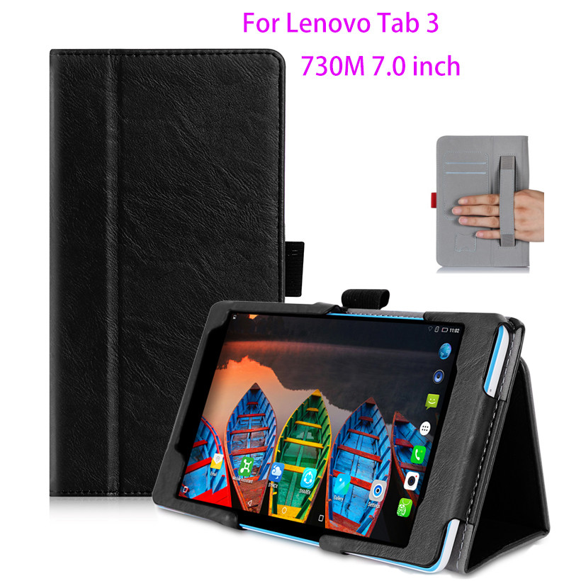 Protective Leather Case For Lenovo Tab 3 730M 730F 730X 7 inch Case Cover For TB3-730F TB3-730M Tablet WIth hand Holder Shell slim fit stand feature folio flip pu hybrid print case for lenovo tab 3 730f 730m 730x 7 inch