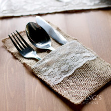 Free Shipping 30 pieces Jute Cutlery Pocket 21 *10CM burlap Hessian Knife and Fork Bag For Wedding Decoration FREE SHIPPING