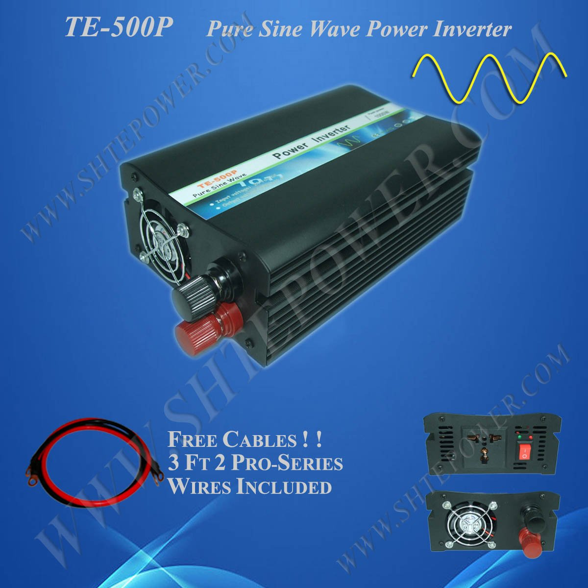 Off Grid Solar Power Inverter, 500w 24vdc to 120vac inverter, Pure Sine Wave Power Invertor