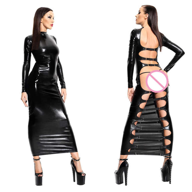 Sexy Wetlook Faux Leather Dress Nightclub DS Open Back Long Sleeves Exotic Erotic Long Dress
