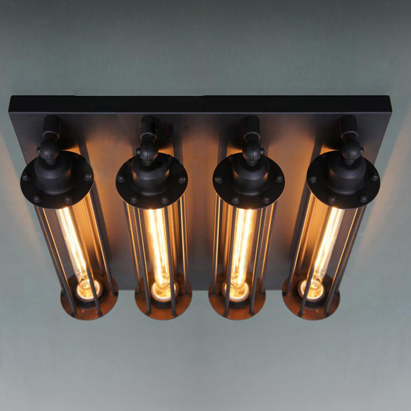 Retro Vintage Ceiling Light 4 Lights Edison Bulbs Metal Black Painting Ceiling Light for Living room Loft Lamp Light Industrial free shipping retro vintage wall light punk wall light edison bulbs metal black painting ceiling light for living room loft lamp
