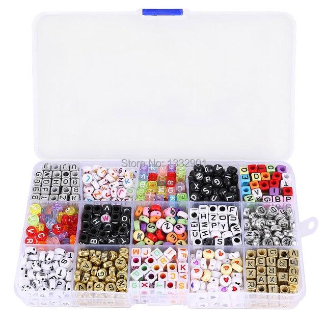 18ec51727 Abalorios Cuentas Dados con Letras para manualidades pulseras collares  1100pcs