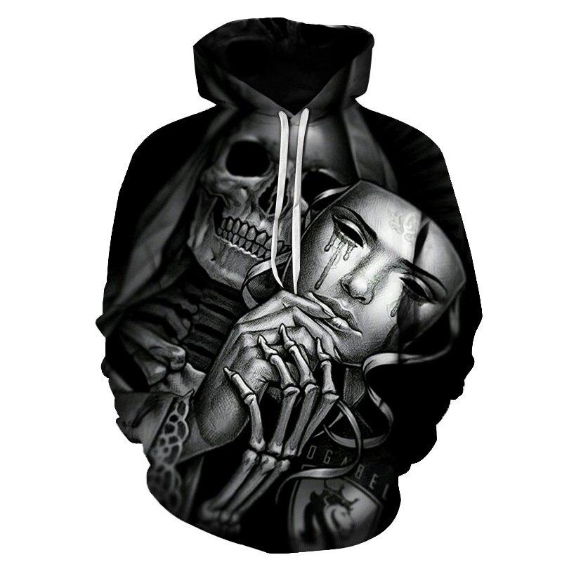 Sweatshirts Hoodies Pullover Streetwear Skull-Print Autumn New-Fashion Regular Casual