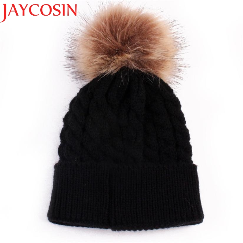 Skullies Beanies Newborn Cute Winter Kids Baby Hats Knitted Pom Pom Hat Wool Hemming Hat  Drop Shipping High Quality S30 skullies