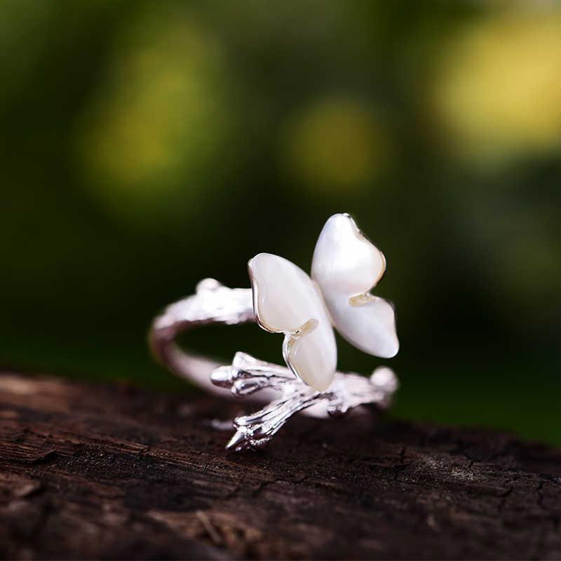 Lotus Vui Giây Phút Thật Nữ Bạc 925 Tự Nhiên Ban Đầu Thiết Kế Thủ Công Thời Trang Trang Sức Bướm Dễ Thương Trên Chi Nhánh Nhẫn Nữ