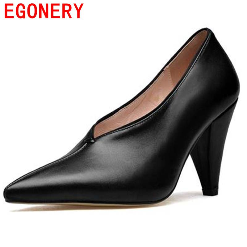 EGONERY women pumps plus size genuine leather career slip-on pointed toe soft spring lady wear-resisting women solid shoes egonery spring air slip on round toe square low heels office women shoes pumps woman shoe plus size 40 43