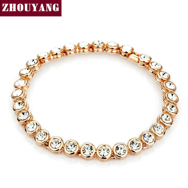 Multicolour CZ Crystal  Rose Gold/Platinum Plated Chain Bracelet Jewelry Wedding Party Women Wholesale ZYH026 ZYH027 ZYH028