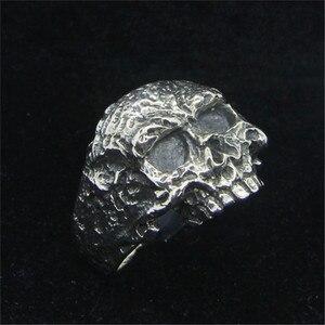 Размер 7-15, бесплатная доставка, кольцо с крутым черепом из стерлингового серебра 925 пробы, Новое мужское кольцо для мальчиков S925, хит продаж, ...