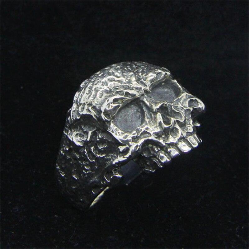 Taille 7-15 livraison gratuite 925 en argent Sterling Cool anneau de crâne nouveaux hommes garçons S925 vente chaude anneau de crâne de motard