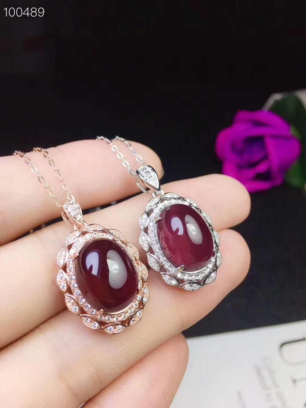 [MeiBaPJ]Real Natural Garnet Big Pendant Necklace with Certificate 925 Pure Silver Red Stone Fine Charm Jewelry for Women