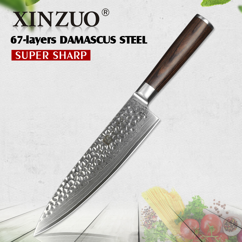 XINZUO 8 pouces Chef de Couteau 67 couche Damas En Acier Cuisine Cleaver Couverts En Acier Inoxydable Couteaux De Boucher Pakka Bois poignée