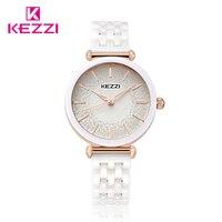 Kezzi Top Brand Watches Women Fashion Watch Gold Silver Ceramic Diamond Waterproof Quartz Wrist Watches Relogio