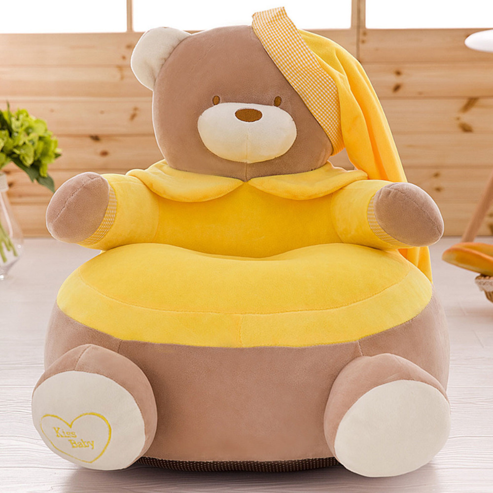 Baby Seat Skin Children Infant Seat Sofa Chair Toddler Seat  Washable Kids Cartoon Bear Kids Velvet Only Cover No Filling