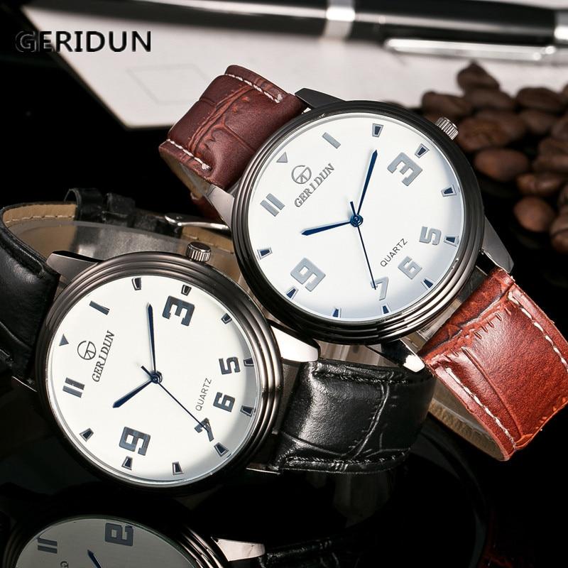 GERIDUN Män Lyx Mode Faux Läder Rem Blue Ray Glas Dial Quartz Watch - Herrklockor
