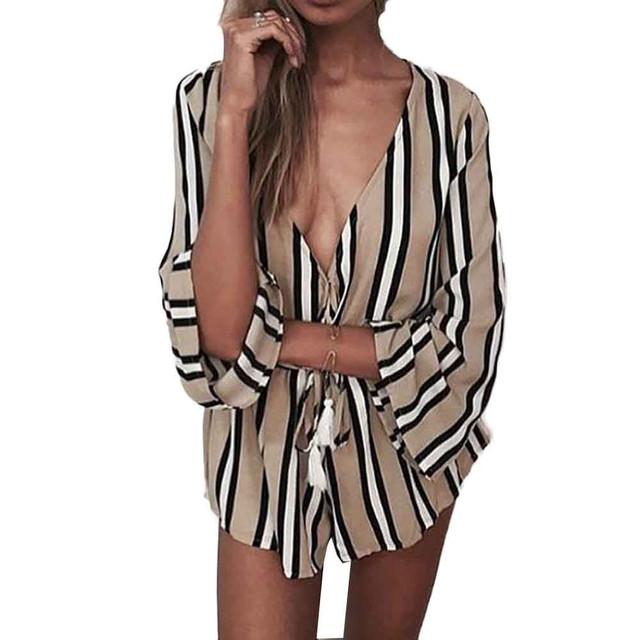 Sexy rompers womens jumpsuit Mini três quartos com decote em v Profundo estilo Inglaterra solto Listrado Praia macacão short #0608