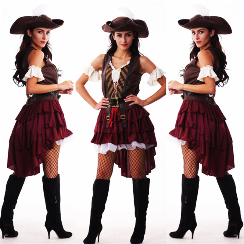 2019 New Sexy Women Pirate Costume Halloween Fancy Party Dress Carnival Perfor Mance -6899