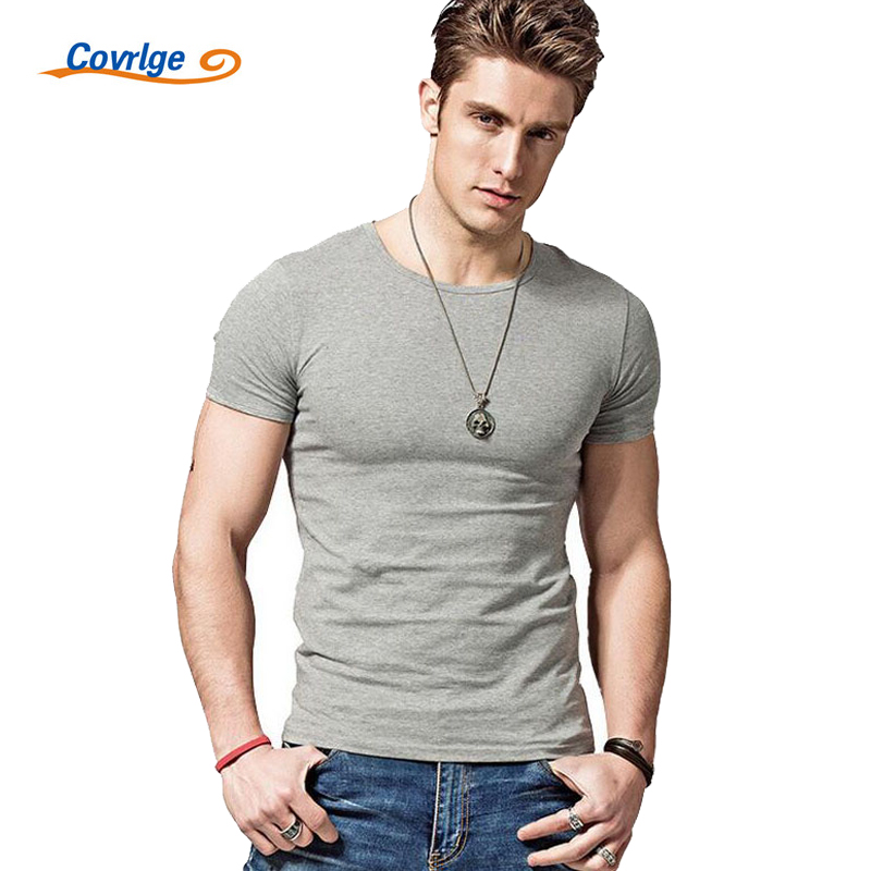 Covrlge 2019 Hot Summer Men T-shirts Solid Color <font><b>Slim</b></font> Fit Short Sleeve T Shirt Mens New O-neck Tops <font><b>TShirt</b></font> Brand Clothing MTS291 image