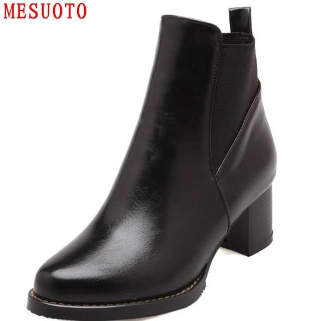 MESUOTO Casual Concise Gothic Punk Square Heel Faux Leather Slip On Spring Autumn Womens Ankle Boots Chelsea Boots