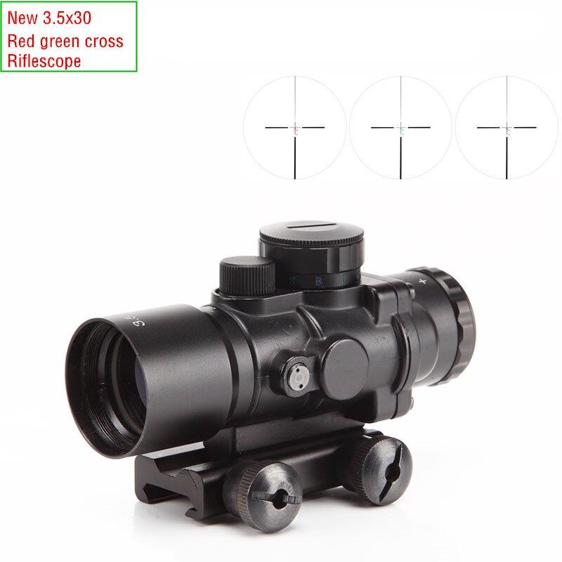 ФОТО New mini 3.5 x 30 adjustable red green cross sight riflescope for hunting gun sight scope camera bird watching