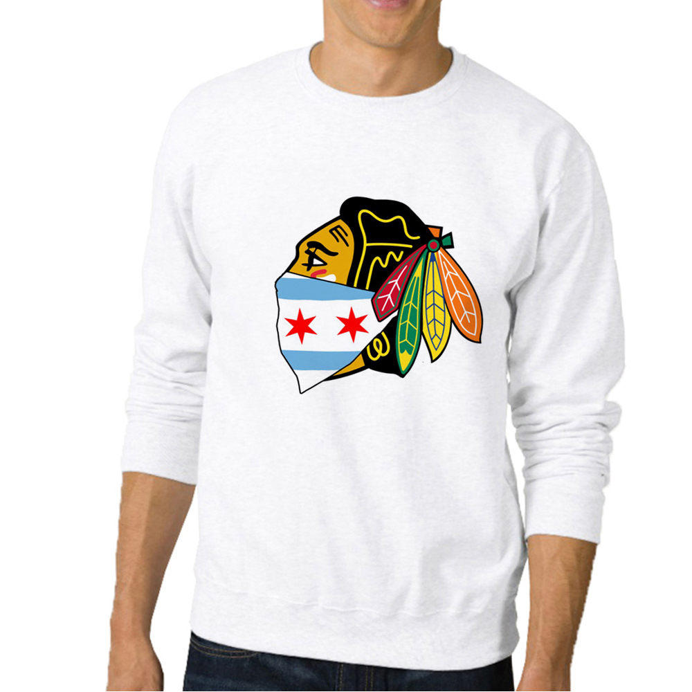 Hot Sale New Fashion Men's Sweatshirts Chicago Blackhawks Logo With City Bandana Printed Male Casual Funny Clothing