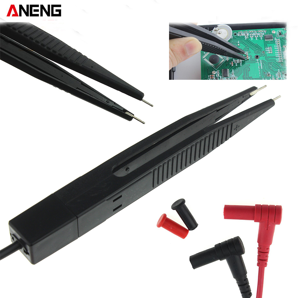 ANENG SMD Chip component LCR testing tool Multimeter tester meter Pen probe lead tweezers for FLUKE for Vichy 1 pair universal probe test leads pin for digital multimeter needle tip meter multi meter tester lead probe wire pen cable 20a