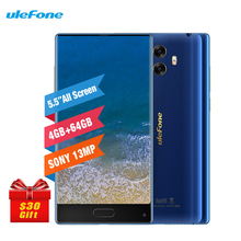 "Ulefone MIX 5,5 ""HD 4 GB RAM + 64 GB ROM 3300 mAh Dual Rückseite Kameras 13MP Gyro Kompass Android 7.0 MT6750T Fingerprint ID 4G Smartphone"