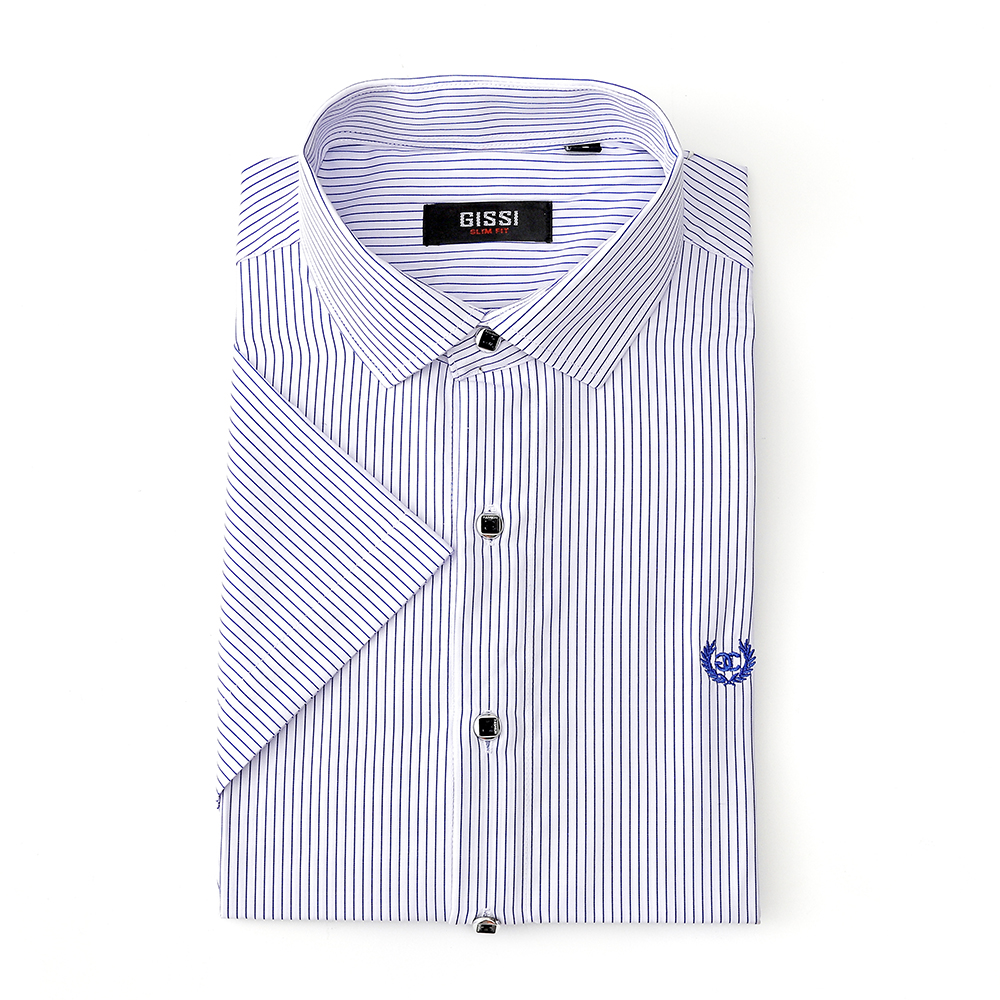 Slim Turn-down Collar Short Sleeved Shirt Business Casual Vocational Work Clothes Men's