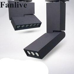 10 sztuk 12W 6W COB reflektor oświetlenie LED na szynach czarny biały ściemniania AC85 265V Focos doprowadziły Techo Track Spotlight  aby śledzić szyny światła w Oświetlenie toru od Lampy i oświetlenie na