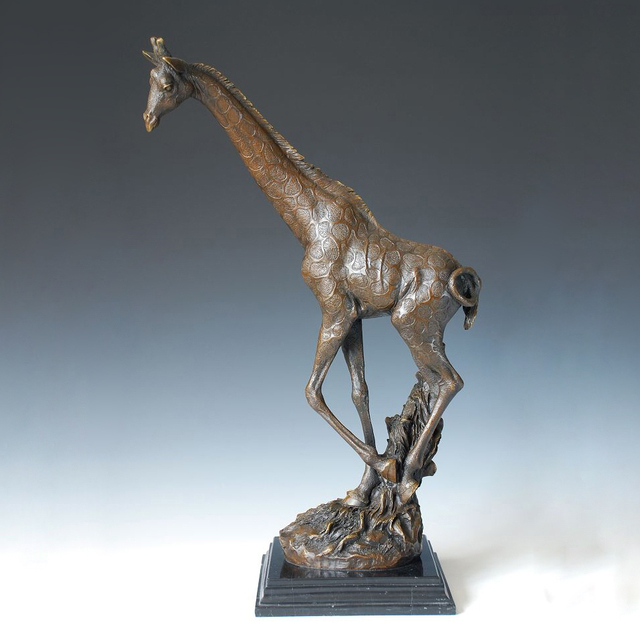 ATLIE BRONZES Giraffe Statue Garden Decor Auspicious Animal Bronze  Sculpture Longevity Luck Art Collections