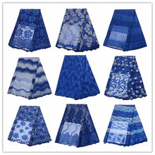 Wholesale blue Nigerian Lace Latest African 2019 Bridal Fabric Royal French High Quality