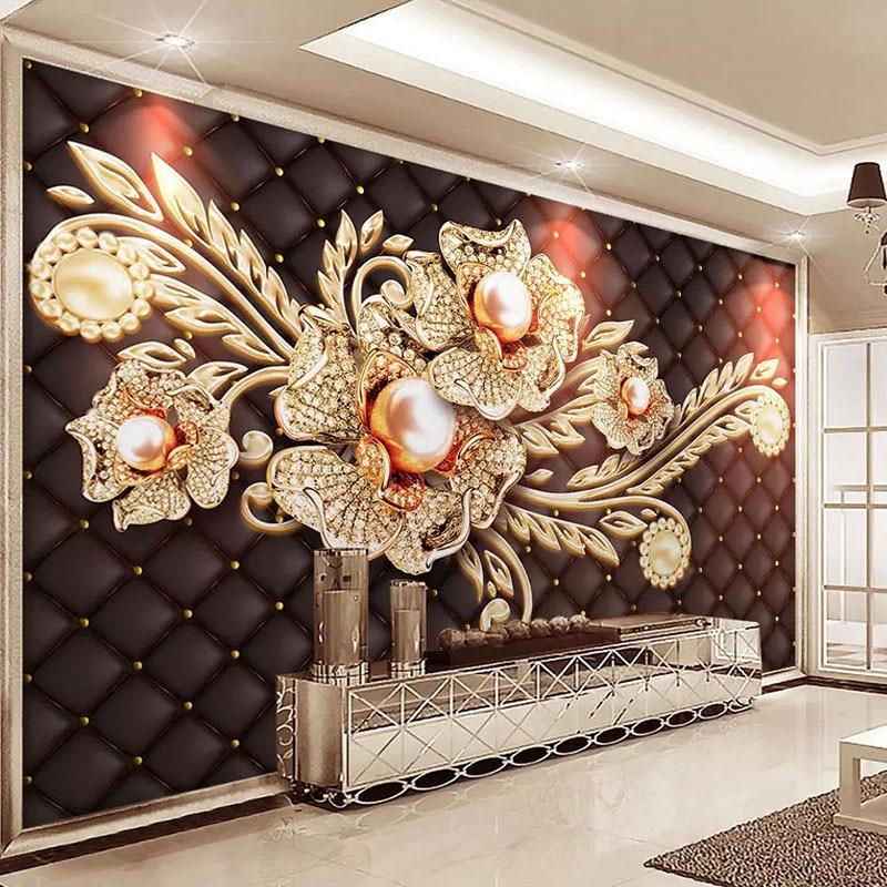 Custom Mural Wallpaper Black Jewel Diamond Pearl Flower European Style Living Room Bedroom TV Background Wall Painting Pictures