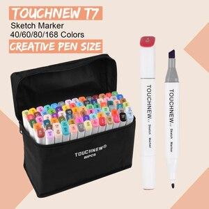 Image 1 - Touchnew T7 Dual Tips Sketch Markers Creative Design 40/60/80/168 Kleur Marker Pen Alcohol Gebaseerd Tekening Art levert Met Geschenken