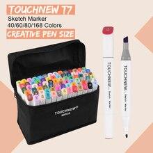 Touchnew t7 pontas duplas marcadores de esboço design criativo 40/60/80/168 marcador de cor caneta álcool base desenho arte suprimentos com presentes