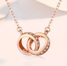 Korean Version 14k Rose Gold Double Round Necklace Diamond Double Buckle Clavicle Chain Cat  Simple Fashion 1 carat round cut simple bezel set solitaire 14k yellow white rose gold black moissanites necklace fine jewelry necklace chain