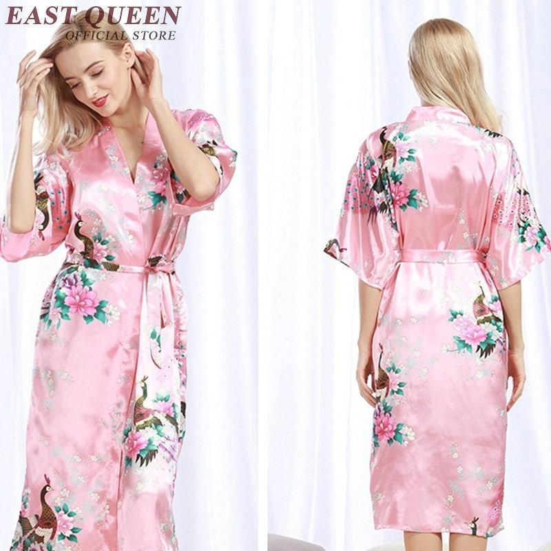 Bridesmaid robes ladies silk wedding robes satin bridesmaid robes de soiree kimono long robe KK1353 H