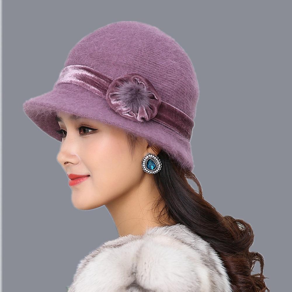 20 style Hot Sell Winter Women Knitted Floral Skullies Super Soft Wool Mix Rabbit Fur Hat Warm Beanies Female Baggy Headwear Cap skullies