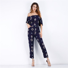 Women Summer Jumpsuits Floral Print Off Shoulder Sexy Female Playsuits Long Pants Fashion Clothing